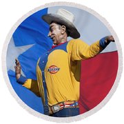 Big Tex And The Lone Star Flag Round Beach Towel