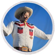Big Tex - State Fair Of Texas - No. 2 By D. Perry Lawrence Round Beach Towel