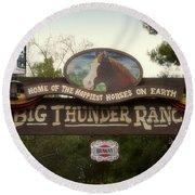 Big Thunder Ranch Signage Frontierland Disneyland Round Beach Towel