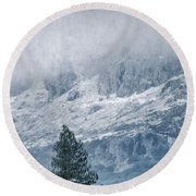 Big Tree At The Mountains Round Beach Towel