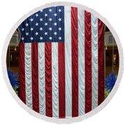 Big Usa Flag 2 Round Beach Towel