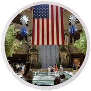 Big Usa Flag 3 Round Beach Towel