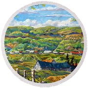 Big Valley By Prankearts Round Beach Towel