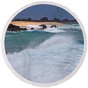 Big Wave Waterscape  Round Beach Towel