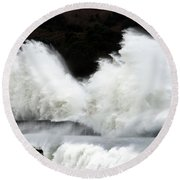 Big Waves Breaking On Breakwater Round Beach Towel