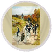 Big Wheel Bicycles Round Beach Towel