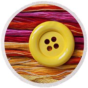 Big Yellow Button  Round Beach Towel