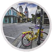 Bike And 3 Georges In Mobile Alabama Round Beach Towel