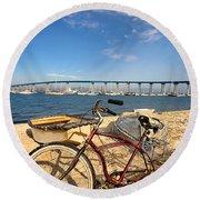 Bike And A Brdige Round Beach Towel