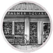Bike At Palmer Square Book Store In Princeton Round Beach Towel