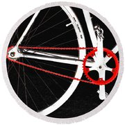 Bike In Black White And Red No 2 Round Beach Towel