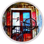 Bike In The Balcony Round Beach Towel
