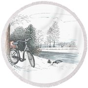 Bike In The Snow Round Beach Towel