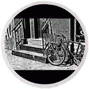 Bike In The Sun Black And White Round Beach Towel