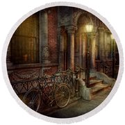 Bike - Ny - Greenwich Village - In The Village  Round Beach Towel by Mike Savad