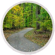 Bike Path Round Beach Towel by Frozen in Time Fine Art Photography