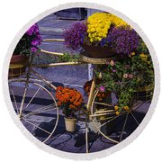Bike Planter Round Beach Towel