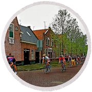 Bike Race On Orange Day In Enkhuizen-netherlands Round Beach Towel