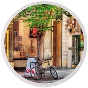 Bike - The Music Store Round Beach Towel by Mike Savad