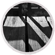 Bike Trail Bridge Bw Round Beach Towel