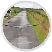 Biker And The Bird Round Beach Towel