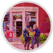 Bikes Backpacks And Cold Beer At The Local Corner Depanneur Montreal Summer City Scene  Round Beach Towel