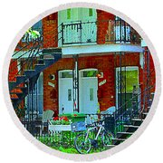 Bikes Balconies Brick Houses Flower Boxes Verdun Duplex Stairs Summer Scenes Carole Spandau Round Beach Towel