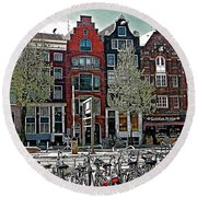 Bikes Everywhere In Amsterdam-netherlands Round Beach Towel