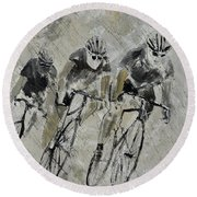 Bikes In The Rain Round Beach Towel