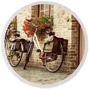Bikes In The School Yard Round Beach Towel