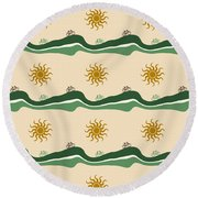 Bike Pattern Round Beach Towel