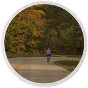 Biking In The Smoky Mountains Round Beach Towel