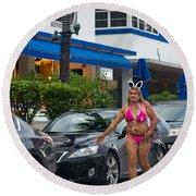 Bikini Bunny In Miami Round Beach Towel