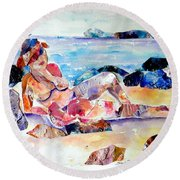 Bikini In Paradise Round Beach Towel