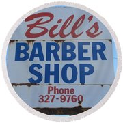 Bill's Barber Shop Round Beach Towel