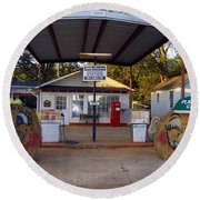 Billy Carters Old Service Station In Plains Georgia Round Beach Towel