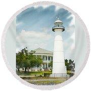 Biloxi Lighthouse Sketch Photo Round Beach Towel