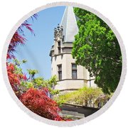 Biltmore And Japanese Maple Trees Round Beach Towel