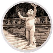 Biltmore Cherub Asheville Nc Round Beach Towel by William Dey