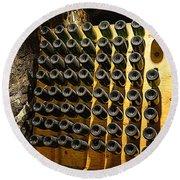 Biltmore Estate Wine Cellar -stored Wine Bottles Round Beach Towel