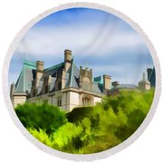 Biltmore In The Distance Round Beach Towel