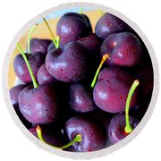 Bing Cherries Round Beach Towel