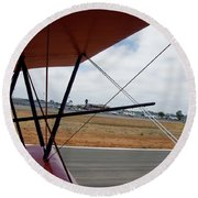 Biplane Taxying Back To Tie Down Round Beach Towel