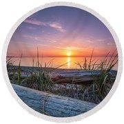 Birch Bay Sunset Round Beach Towel