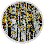 Birch Study Fall Round Beach Towel
