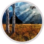 Birch Trees And Biplanes  Round Beach Towel by Bob Orsillo