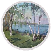Birch Trees By The River Round Beach Towel