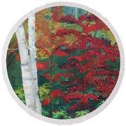 Birch Trees In Red Round Beach Towel