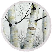 Birch Trees In The Forest By Christopher Shellhammer Round Beach Towel