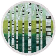 Birches At The Beach Round Beach Towel